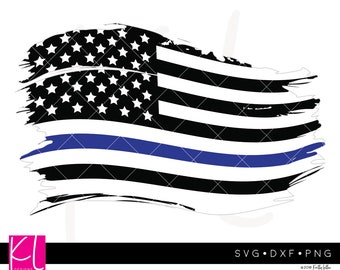 Thin Blue Line American Flag svg, Thin Blue Line svg, Grunge Flag svg, USA Flag svg, Patriotic svg, 4th of July svg, Forth of July svg