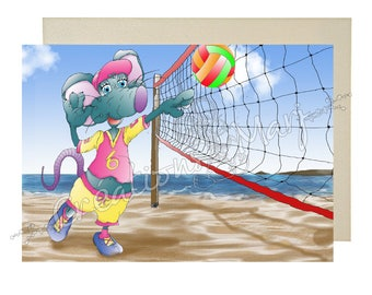 Volleyball, volleyball, sunshine, happy, sports card card, card congratulations card mouse