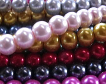 100 8 mm glass pearl beads to choose