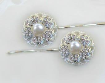 Wedding Hair Pins,  Bridal Hair accessories, Ivory Pearl, Bridal Bobby Pins, Wedding Hair, Bridesmaids hair, Camellia Collection