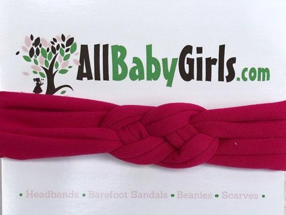 Knot Headband, Fuchsia Headband, Baby HeadWrap, Fuchsia Turban, Celtic Knot Headband, Sailors Knot, Hair Wrap, Baby Headband, Baby Head Wrap