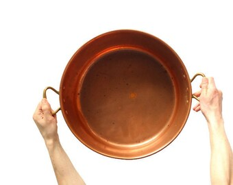 Vintage copper pot from France for confiture -- sturdy French cookware kitchen decor