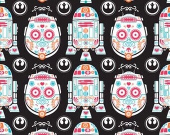 "End of Bolt, Sugar Skulls Star Wars Fabric with C3P0 and R2D2 - by Camelot Fabrics 7""x44"""