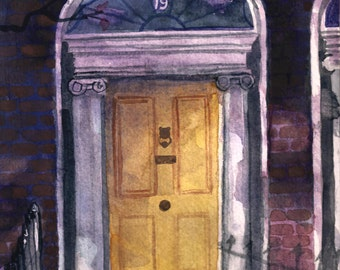 Watercolor Dublin Georgian Door #2 Print 5 x 7