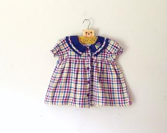 Vintage Flannel Plaid ABC Collared  Dress/Top (Size 24 Months)