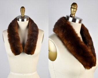 SALE Vintage Mink FUR Collar - Fur Collar - Brown Mink Fur - Boa Fur Collar - Long Adjustable Insert Pockets 30s 40s 50s Fur Chunky Fur