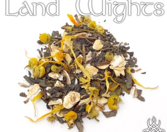 Land Wights Loose Tea - loose leaf green tea, chamomile oat, land spirits offering, forest spirits, witchcraft items, pagan altar