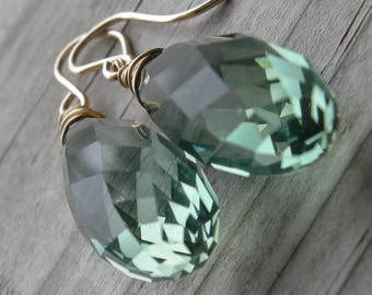 Prasiolite Green Amethyst Elongated Gold Fill Earrings