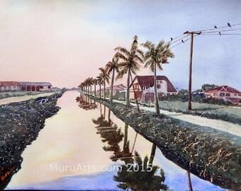 Sunset in Paramaribo North, Suriname, 50 cm x 60 cm