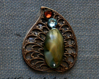 Foliage Bindi - Facial Jewelry, ATS, Steampunk, Tribal Fusion, Belly Dance, Green, Leaf