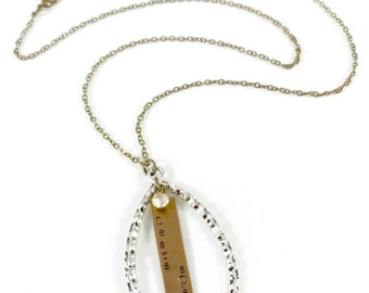 Tears Speak, Inspirational Necklace, Silver and Brass Teardrop Pendant Necklace, Mixed Metal Necklace, Meaningful Jewelry, Mental Health