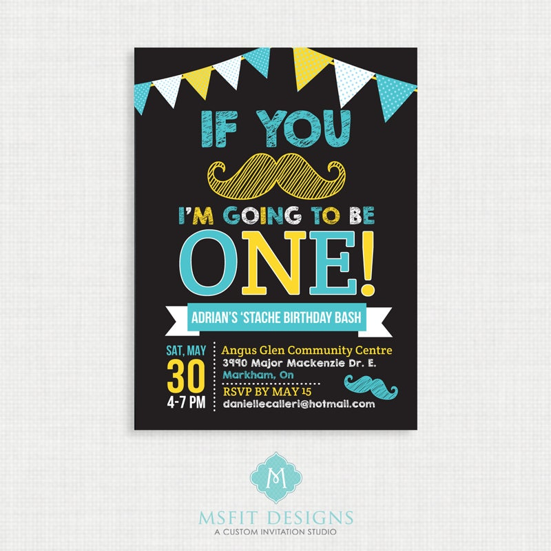 Mustache Birthday Invitation- Moustache Bash Birthday Invitation ...
