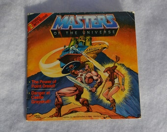 Masters of the Universe The Power of Point Dread!, Danger at Castle Grayskull! He-Man comic cartoon character book, record is not included