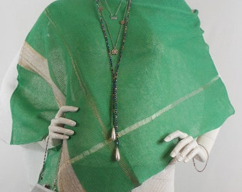 Pure linen, Knitted, Women Poncho,Blouse,Spinach, White colour, Gold,  Green, Women clothes, Summer Poncho, Natural, Handmade, Antibacterial