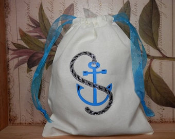 BEACH WEDDING FAVORS, Anchor Gift Bags, Thank You Favors, Wedding Party Gifts, Destination Wedding, Beach Party Bags, Money Bags, Dance Bags