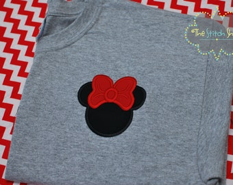 ADULTO Minnie o Mickey Mouse Mongorammed y Applique camisa