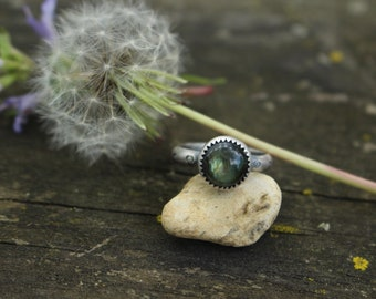 Size 5.5 - LABRADORITE STACK RING - Stamped Brave - Handmade - Sterling Silver - Gift For Her - Anxiety - Ready To Ship - Silver Ring