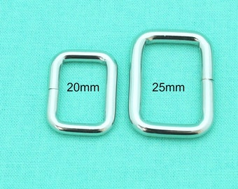 20mm/25mm Rectangle Rings - Silver - Handbag Hardware Australia