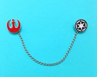 "Season of The Force Collection ""Rebel Empire"" Rebel Alliance Galactic Empire Logo Star Wars Enamel Collar Pins"