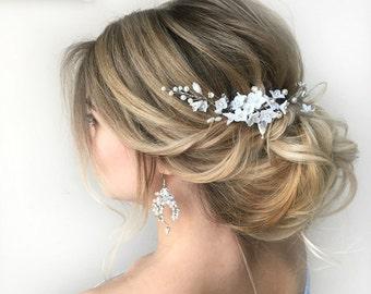 Bridal Hair Piece Floral Wreath Wedding Accessories Floral Headpiece Bridal Hairpiece Flower Headband Silver Leaf Tiara Wedding Flower Crown