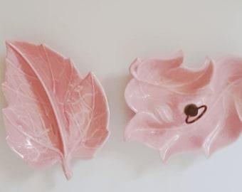 Pink Leaf Chip and Dip Serving Platters Vintage, 1950s USA No. 45