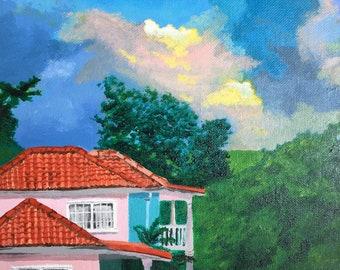 Jamaica art acrylic painting on canvas medium size