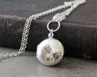Silver Photo Locket Necklace, Round Locket, April Birthstone Locket, Sterling Silver Locket Pendant Push Gift for Mom, Engraved Locket