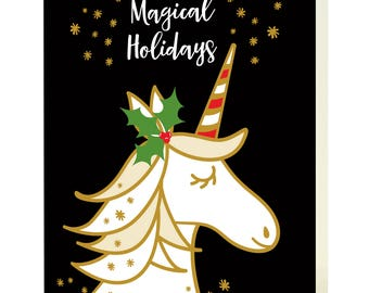 Magical Unicorn Black Holiday Cards, Box of 10 - Christmas Cards - Wishing You Magical Holidays - OC1185-BLK-BX