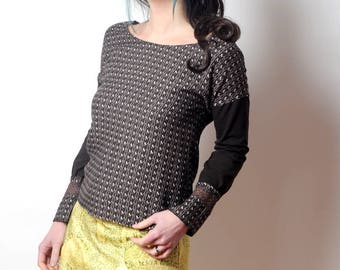 Brown geometric patterned top, Brown womens shirt, Women's clothing, Loose womens blouse, MALAM, size UK 10