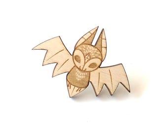 Bat Laser Etched Wood Pin