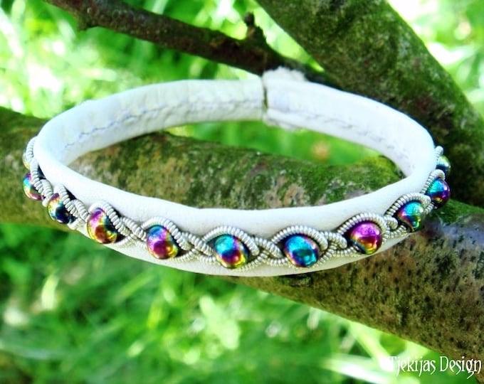 Lapland White Leather Viking Bangle   GJALL Rainbow Hematite Boho Bracelet   Handcrafted to Your Color and Size