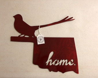 Great State of Oklahoma with Scissortail Flycatcher Home Decor Metal Art