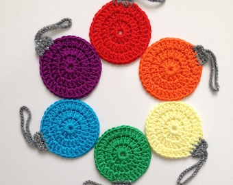 Christmas Tree Ornaments, Crochet Baubles, Rainbow, Set of 6, Hanging Ornaments