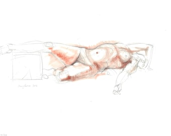 Nude pencil drawing with terracotta pastel. Life sketch. Reclining male + female nude.  Art by Nancy Farmer. LD-06-2016