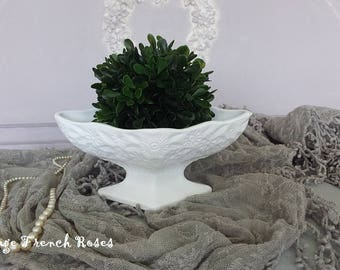 White Milk Glass Pedestal Vintage Vase With Boxwood Topiary Ball Wedding Romantic Shabby Chic Cottage French Farmhouse Nursery  Decor
