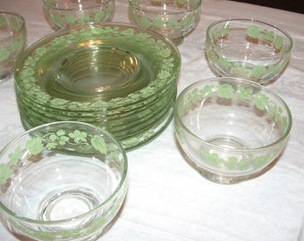 SALE Antique Party Ware Dishes , 15 piece set of Glass with Green leaf Sherbet Cups and Dessert Plates