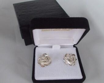 Intricate Rose Stud Earrings Post Backs .925 Sterling Silver