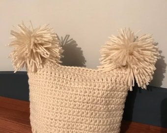 Crochet Baby Hat (cream color with two pom-poms)