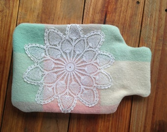 Hot Water Bottle Cover, Wool Blanket, Heat Pack, Heating Pad, Boho, Gift for Mum, Sustainble, Vintage, Hot Water Bottle, Cover, Eco Friendly
