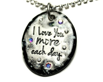 I Love You More Each Day Sparkle Surly Necklace with Swarovski Crystals