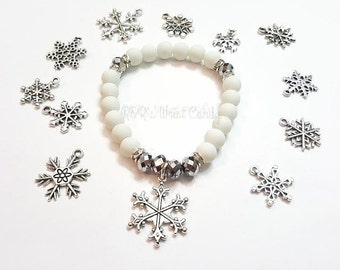 Snowflake Beaded Bracelet, Holiday Bracelet, Christmas Bracelet, Snowflake Charm, White Bracelet, Stretchy, Custom, Handmade Beaded Jewelry
