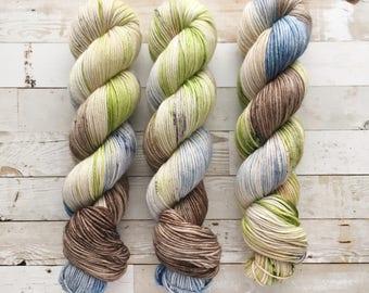 camp ahna wahna | tomo DK | hand dyed yarn | brown blue green | 100% SW Merino