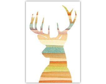 Deer Print, Animal Wall Decor, Kids Room, Large Poster, Canvas Art, Stag
