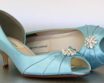 Blue Wedding Shoes -- Pool Blue Kitten Heels with Simple Rhinestone Adornment