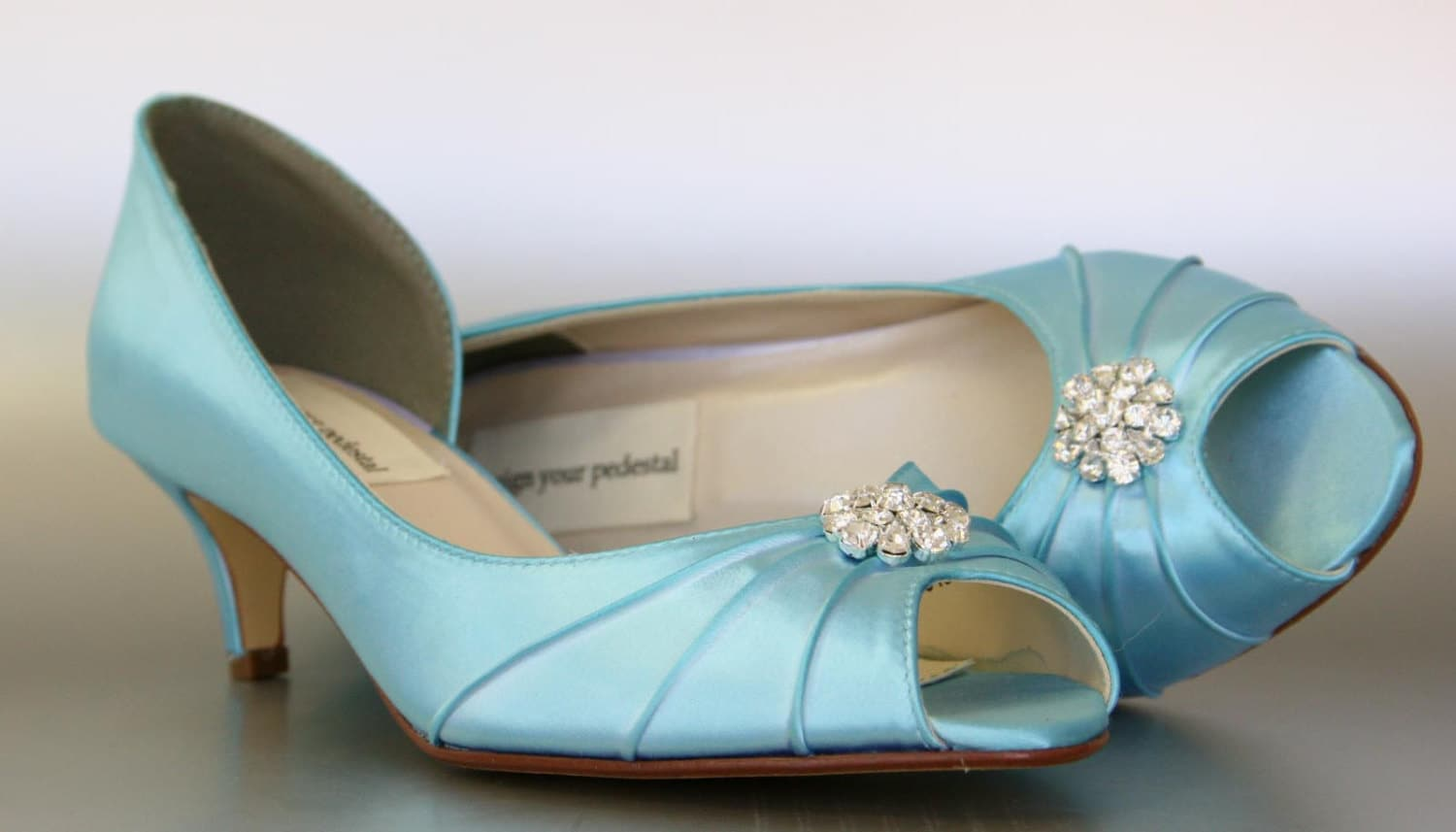Blue Wedding Shoes Pool Blue Kitten Heels with Simple
