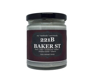 Fireside Candle - 221B Baker St - 8 oz Soy Candle - Book Lover Candle - Scented Candle - Gift Under 15 - Book Candle - Book Lover Gift - Soy