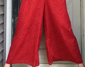 Red Floral Wide Leg Pants S
