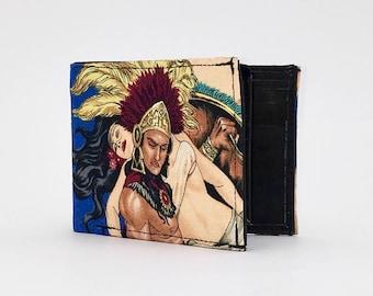 AZTEC WARRIOR & PRINCESS handcrafted billfold style wallet