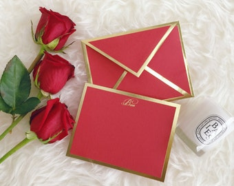 Bae Red Card with Gold Foil Bordered Envelope