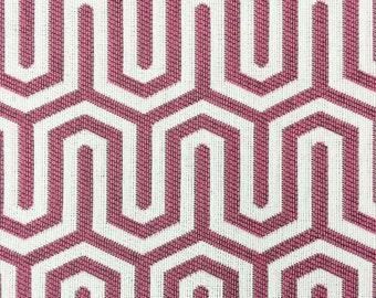Raspberry Modern Geometric Linear Illusion Fabric - Upholstery Fabric By The Yard